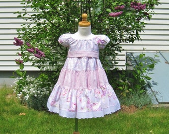 Pink roses, girl toddler, twirly tiered dress, Size 1T, Easter, shabby chic, party dress, birthday gift, ready to ship, special occasion