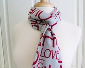 Heather Gray Red LOVE Infinity Circle Scarf-Double Loop Scarf- Cotton Jersey Knit