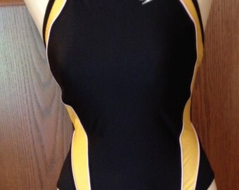 Vintage Speedo Swimsuit, 1 Piece Bathing Suit, Black with Gold, 6/32