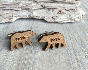 Fathers Day, 1st time Dad, birthday gift, Papa Bear Cufflinks