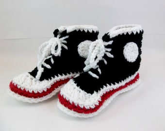 SALE  Black Hi Top Tennis Shoes Small  Adult Slippers or Large Child Converse Style Sneakers.