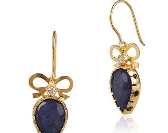 15% Discount Bow Earrings with Saphire drops