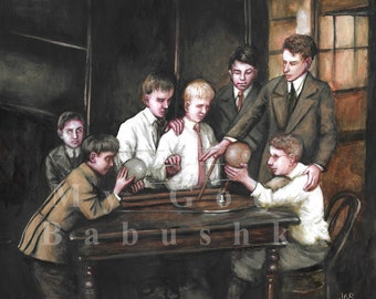 Blind Boys Investigating an Astronomical Model, Original Painting, Science, Astronomy, Natural History, Early 20th Century, History, Blind,