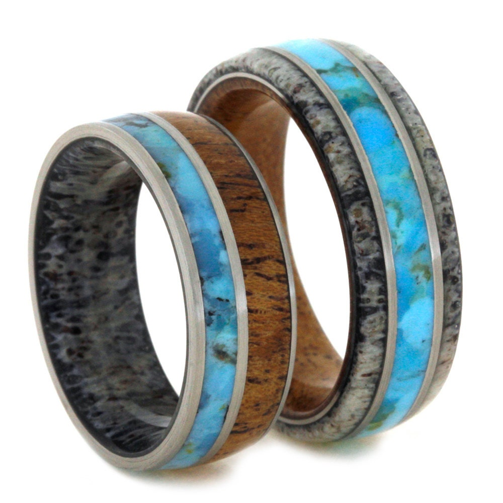 Unique Wedding Bands: Unique Wedding Band Set Turquoise Rings With By Jewelrybyjohan