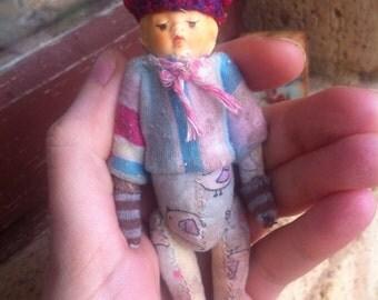 MINIATURE bear doll antique vintage primitive old mohair small mini shabby artist raggy bears