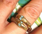 vintage teal eyes 2 headed gold snake bypass ring 7.5
