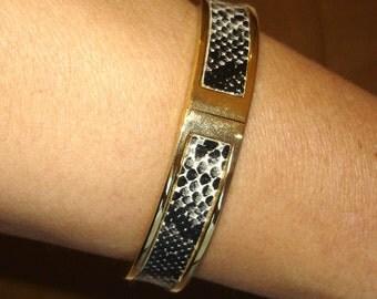 vintage black and white snakeskin gold clamper bracelet