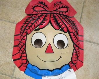 1991 Macmillian Raggedy Ann Halloween Mask Prototype Uncut but cracked