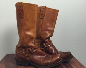 Vintage HARNESS Boots • 1970s Shoes • Rustic Distressed Brown Leather Tan Western 1960s Size 10 D Men Fits 11 12 Women Cowboy Cowgirl Biker