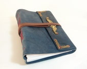 Blue leather Heirloom Journal or Guest Book OOAK