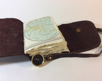 Custom Small Leather Travel Journal with Compass, Map, and Initials