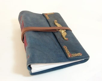 Blue leather Heirloom Journal or Guest Book OOAK