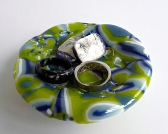 Fused Glass Ring Dish in Blue, White and Green
