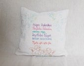Pillow Cover - Goethe Quote embroidery in German - thread painting on Linen - Textile Art