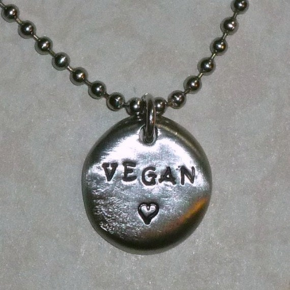 Vegan Love Hand Stamped Pewter Pebble Necklace - Hand Stamped Vegan Pewter Coin Necklace