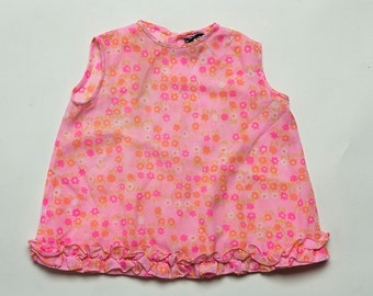 Vintage 1960's Pastel Pink Floral Ditsy Daisy Print Ruffle Dress with Matching Bloomers Estimated size 6-9 Months