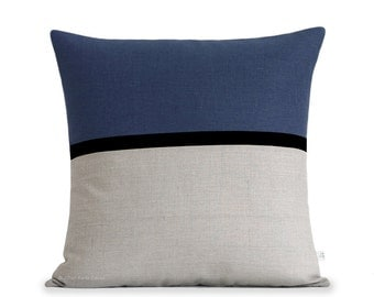 20x20 Navy Blue Horizon Line Pillow Cover with Black & Natural Linen Stripes by JillianReneDecor, Modern Home Decor, Striped Colorblock