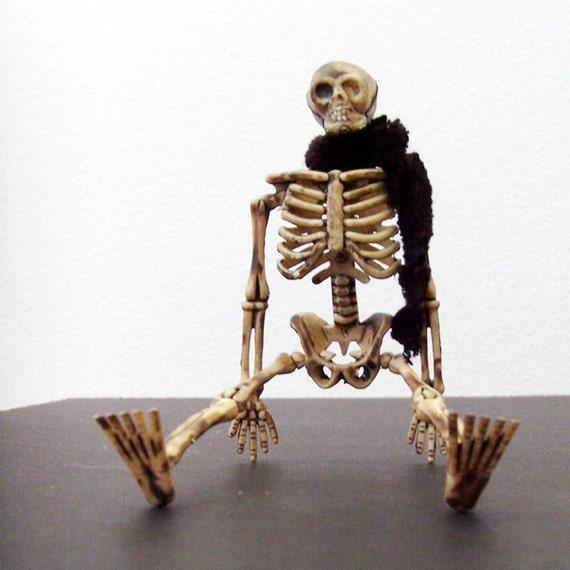 Black Scarf & Skeleton Brooch - Pin / Tan Skeleton Accessory / Goth Halloween Brooch / Unique Gift Under 25