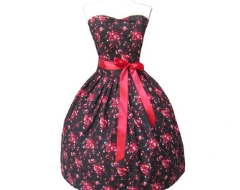 Summer Sale Floral Red LIMITED EDITION 2015 Retro Frock with boning French Chic Doll inspired Womens sweetheart neckline