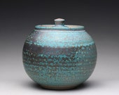 handmade cookie jar, pottery lidded jar, ceramic canister with satin turquoise green and white glazes