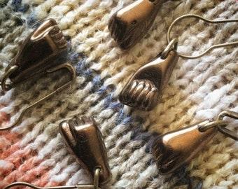 Stitch Markers: 5 Antique Bronze Glass Fists for Crochet or Knitting