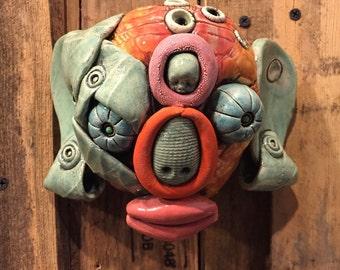 Buddha Head, wall hanging, ceramic head