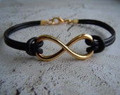Infinity Bracelet, Gold, Black Leather Bracelet, Infinity Symbol Bracelet, Infinity Jewelry, Unisex, Valentines Day Gift, Gift For Her, Him