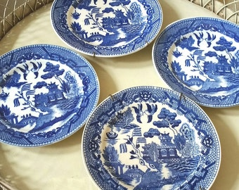 4 antique blue willow bread and butter plates