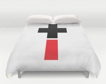 Positive And Negative Cross Duvet Cover, Red Black Bedding, Made to Order,Modern Bedding,Unique, Comforter Cover, Dorm Bedding, Spiritual