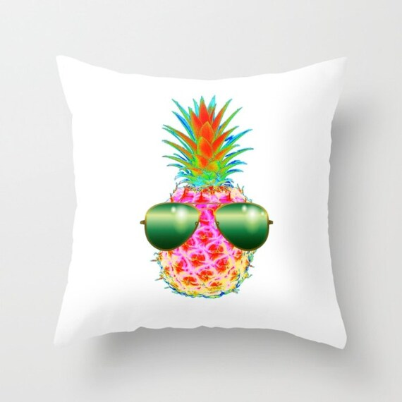 Electric Pineapple with Shades, POP Art Throw Pillow Cover, Funky Pillow, Neon Colors Decor, Fruit Decorative Pillow, Dorm, Modern, Kawaii