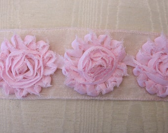 1 yd PINK Shabby Ribbon Rose Flower Trim Scrapbook Fairy Pageant Costume Doll Bridal Quilt