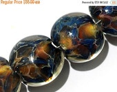 ON SALE 30% OFF Seven Multi Color w/Blue & Red Lentil Beads-10902502-Handmade Lampwork Glass