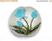 ON SALE 30% OFF Glass Lampwork Bead - Maya Blue Flower Lentil Focal Bead 11832402