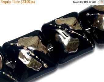ON SALE 50% OFF Four Elegant Black Metallic Pillow Beads - Handmade Lampwork Beads 10204114