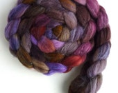 Merino/ Superwash Merino/ Silk Roving (Top) - Handpainted Spinning or Felting Fiber, Night Velvet