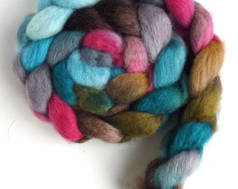 BFL Wool Roving - Hand Painted Spinning or Felting Fiber, Cafe Diem