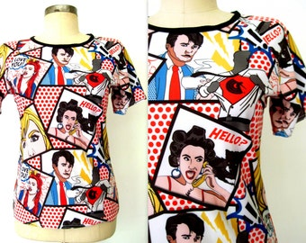 90s Novelty Print Blouse / LICHTENSTEIN-INSPIRED Blouse / Kitschy Pop-Art Blouse