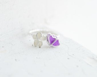 Butterfly Forget Me Not Flower Ring Sterling Silver 1st 4th Anniversary Gift Paper Jewelry Promise Ring Best Friend Long Distance Girlfriend