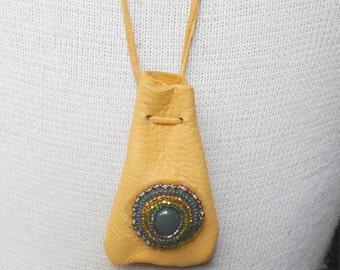 """Beaded Bloodstone Buckskin Leather Necklace Pouch - Small Size 7.5 x 5 cm. (3"""" x 2"""") - Semiprecious Stone / Gemstone - OlyTeam"""