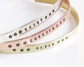 SET OF 3 Skinny Cuff Bracelet - Handstamped Bracelet - Inspirational Jewelry - Stacking bracelets - Coordinate Jewelry - Mantra Bracelet