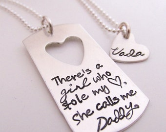 Father's Necklace - There's a girl who stole my heart - personalized necklace set - Father Daughter Jewelry Gift