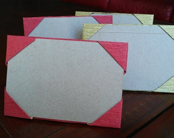 set of 4 origami paper frames. -  2 gold and 2 red