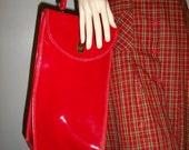 Chic Red patent MOD vintage 60s purse handbag