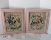 Valentines Day Sale Vintage pair or set Bernard print Victorian couple Southern belle framed in pink frames