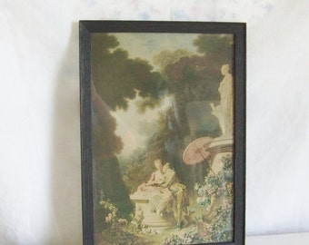 "Valentines Day Sale Vintage romantic print colonial couple print  Fragonard  print ""Love Letters"" print framed print"
