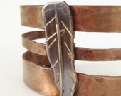 Bronze Cuff Bracelet with Sterling Silver Feather - Anniversary Gift - Reclaimed Bronze