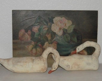 Beautiful Vintage Painted Fabric Pair of White Swans Swan Sculpture