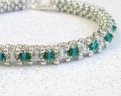 Emerald green crystal bracelet clear crystal bangle stackable bracelet sterling silver bracelet seed bead jewelry handmade beadweaving
