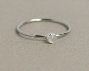 WHITE gold ring. SOLID 14k palladium gold ONE delicate stackable birthstone ring. mothers ring. engagement ring. stacking ring. gift for her