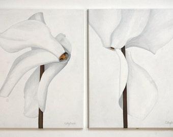 White Cyclamen Painting - White Flower Minimal Botanical Diptych Original Art